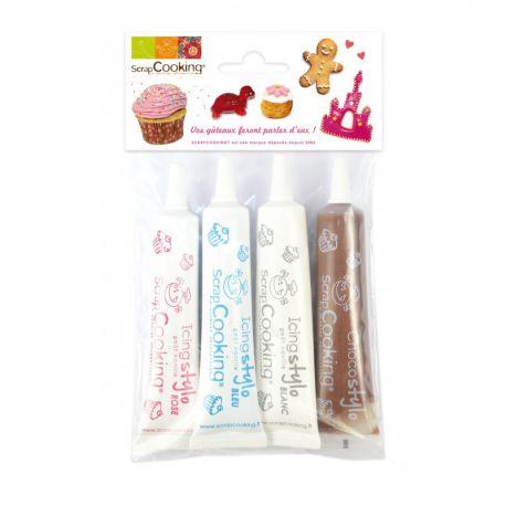 Réalisez des décorations gourmandes avec ces 4 stylos décos glaçage qui permettent d'écrire ou de dessiner sur vos gâteaux ou...