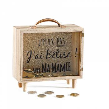 Tirelire en bois transparente J'ai bêtise Mamie