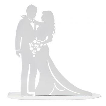Figurine marié silhouette métal blanche