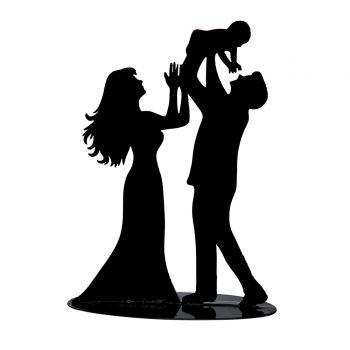Figurine marié avec bébé silhouette métal noir