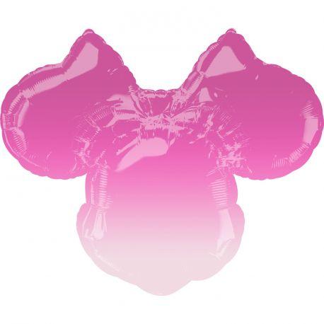 Ballon anniversaire Hélium tête de Minnie super géant dégradé rose pour la deco anniversaire de votre fille.Ballon en aluminium...