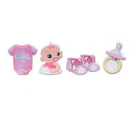 Assortiment de 4 figurines rose pour poser sur votre gâteau ou pièce montée de baptême, baby shower, fête de naissance...Dimensions :