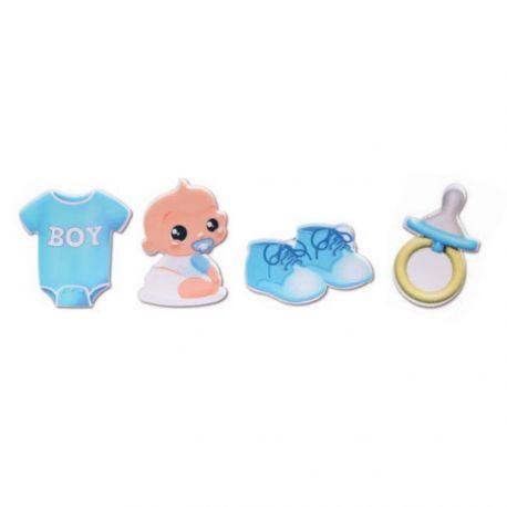Assortiment de 4 figurines bébé bleu pour poser sur votre gâteau ou pièce montée de baptême, baby shower, fête de...