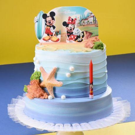 Kit de décor pour gâteau d'anniversaire en 3D sur le thème de Mickey et MinnieDimensions : 15 cm x 8.5 cm