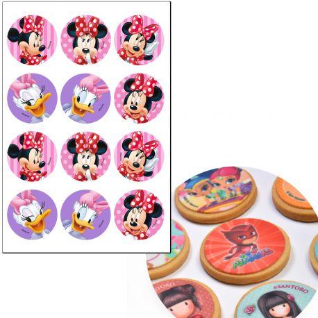 12 Mini disque comestibles à l'éffigie de Minnie pour la déco de vos cupcakes et biscuits d'anniversaire.Simple et rapide à poser,...