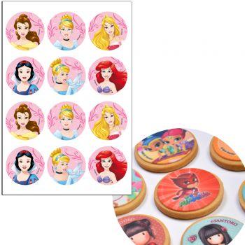12 mini disque sans sucre Princesses Disney Ø5.5cm
