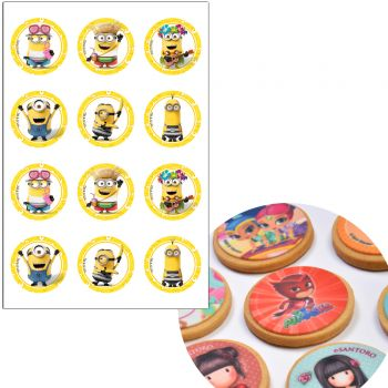 12 mini disque en sucre Minions Ø5.5cm
