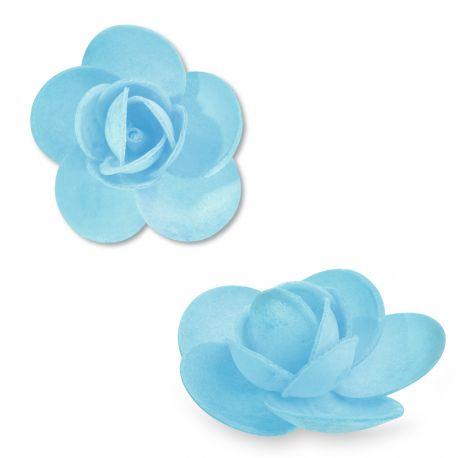 9 Rosesen azyme (papier alimentaire) de couleur bleu clair Ces fleurs sont idéales pour décorer vos gâteaux, cupcakes et...