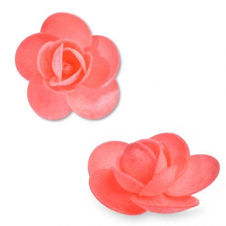 9 Rosesen azyme (papier alimentaire) de couleur rouge clairCes fleurs sont idéales pour décorer vos gâteaux, cupcakes et...
