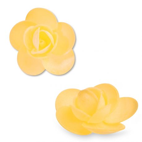 9 Rosesen azyme (papier alimentaire) de couleur jauneCes fleurs sont idéales pour décorer vos gâteaux, cupcakes et...