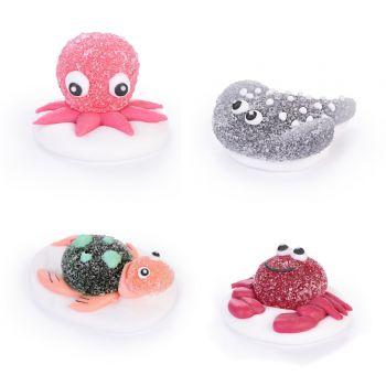 4 figurines océan gélifiées en sucre