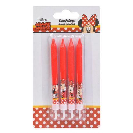 4 Bougies Minnie étoile en cire avec bobêches idéal pour poser sur votre gâteau d'anniversaire sur le thème de Minnie
