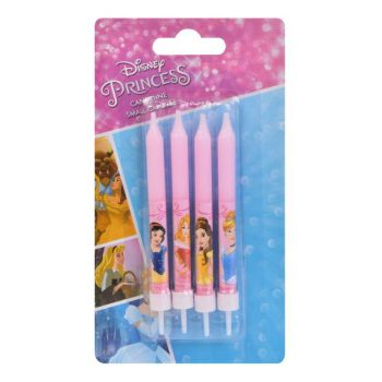 4 Bougies Princesses Disney avec bobêches pour gateau