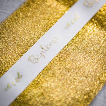 Ruban satin floqué Baptème or