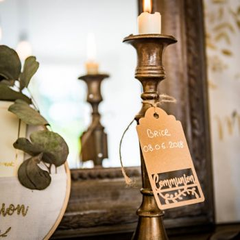 20 Etiquettes communion kraft ajourés 10cm