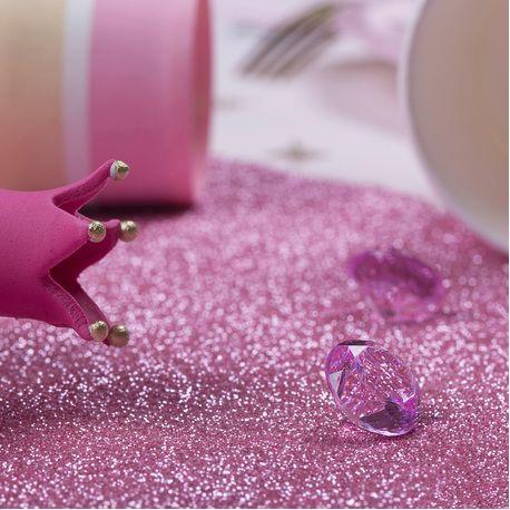 Superbe chemin de table étincelant pailleté rose pour créer une décoration de table tendanceDimensions: 30cm x longueur 3 mètres