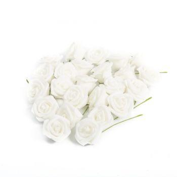 24 Roses blanches pailletés 4cm sur tige