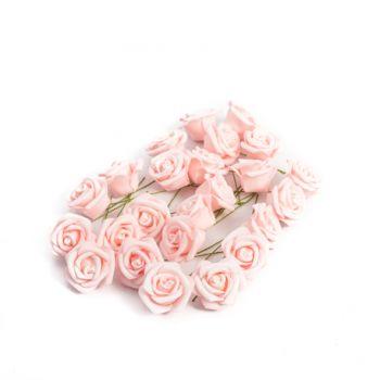 24 Roses rose pailletés 4cm sur tige