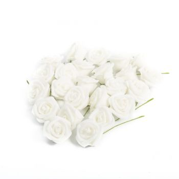 24 Roses blanches 4cm sur tige