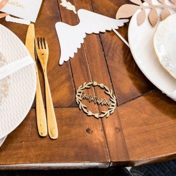 2 Mini couronne bois pailleté or Communion