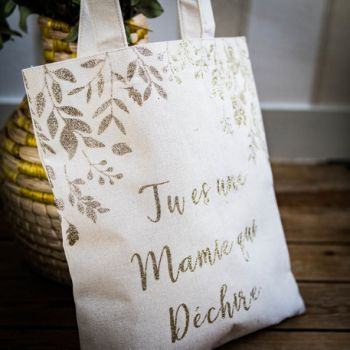 Tote bag Mamie qui déchire pailleté or