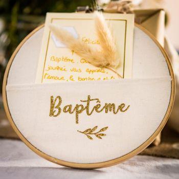 Cadre Baptème pailleté or