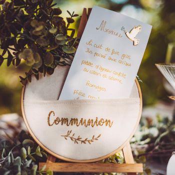 Cadre Communion pailleté or