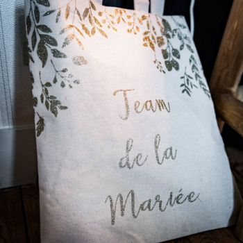 Tote bag Team de la mariée pailleté or