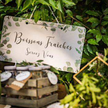 Pancarte Boissons fraîches Eucalyptus or