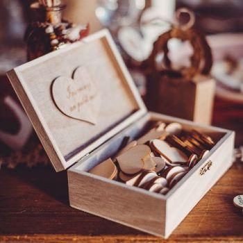 Livre d'or boite coeur bois pour la vie