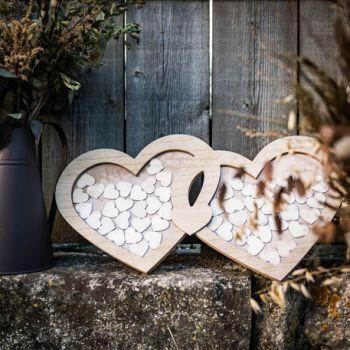 Livre d'or cadre double coeur en bois