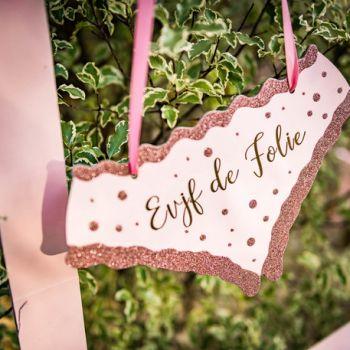 Pancarte culotte gold rose EVJF de folie