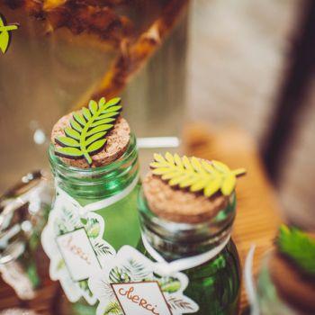 6 Feuilles de laurier bois vert et or autocollant