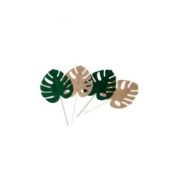 4 Piquets feuilles tropicales verte velours et or pailleté