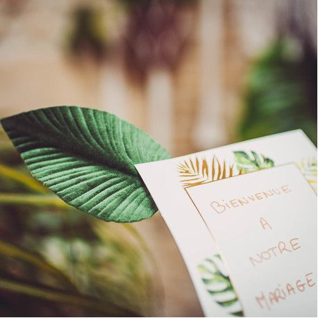 2 piquets feuilles de Magnolia, 1 verte velours et 1 or pailletés pour décorer votre table de fête sur le thème tropicale...