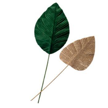 2 feuilles de Magnolia verte velours et or pailleté