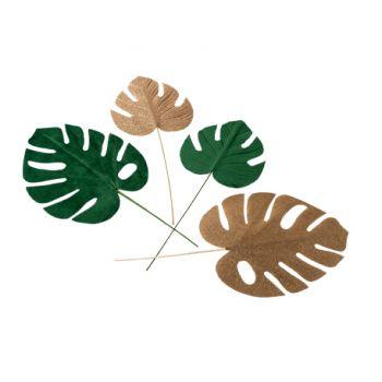 4 feuilles Tropicales verte velours et or pailleté