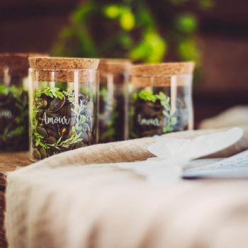 Fiole en verre Amour couronne végétale