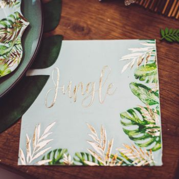 16 Serviettes Jungle feuillages
