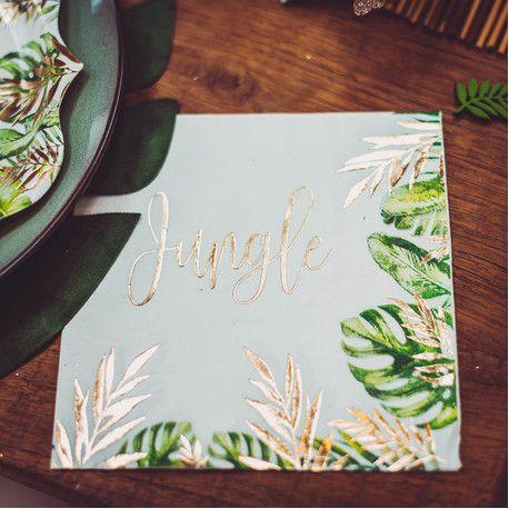 16 serviettes en papier jungle et feuillage idéal pour une décoration de fête d'anniversaire sur le thème de la jungleLe Jungle est...