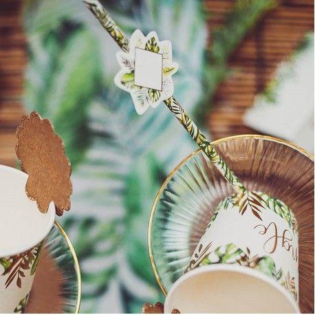 12 pailles en carton décor jungle et feuillage idéal pour une décoration de fête d'anniversaire sur le thème de la jungleAvec 12...