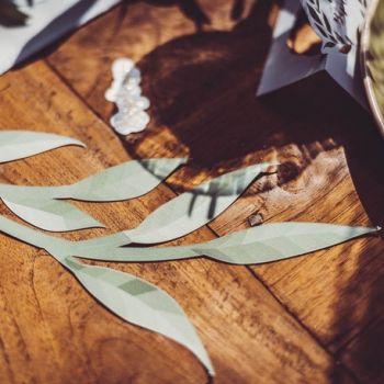 6 Branches d'Eucalyptus en papier vert et or
