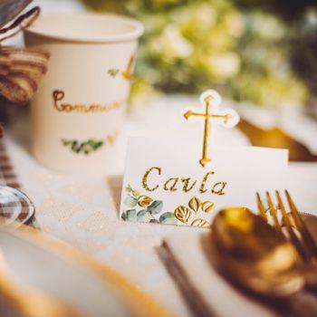 10 Marque places Communion croix Eucalyptus d'or