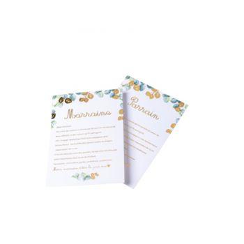 2 Cartes parrain marraine Eucalyptus d'or