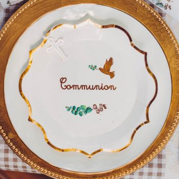 8 Assiettes Ma Communion Eucalyptus or