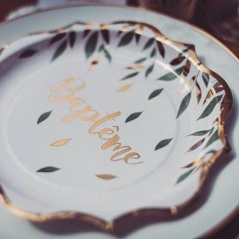 8 Assiettes Baptème végétal or