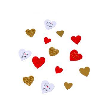 100 confettis coeur je t'aime rouge et or