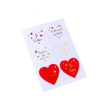 Assortiment 24 stickers coeur amour Ø5cm