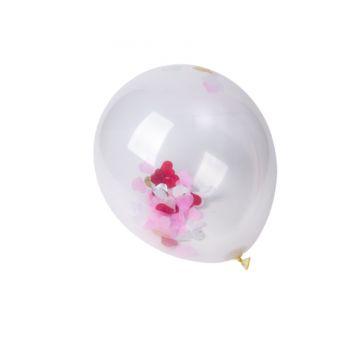 5 Ballons confettis coeur rouge blanc rose