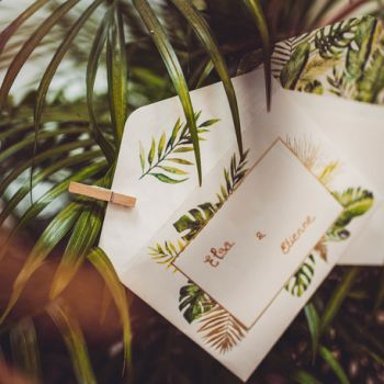 10 invitations avec enveloppes tropical feuillages
